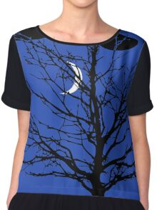 Moon with Tree, Cobalt Blue, Black and White Chiffon Top