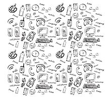Network, mobile, and paint icon set on white background. vector illustration. Photographic Print