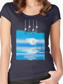 One Moon Light sea Women's Fitted Scoop T-Shirt