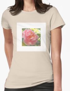 Flower on White Womens Fitted T-Shirt