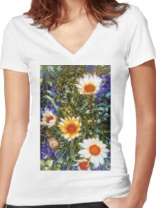 Floral Garden Women's Fitted V-Neck T-Shirt