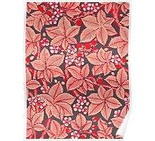William Morris Strawberries, Coral Orange Poster