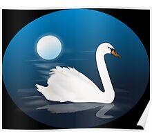 Swan Moonlight Night Illustration Poster