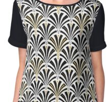 Art Deco fan pattern, black and white Chiffon Top