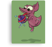Chupacabra & her lollypop w/ BG Canvas Print