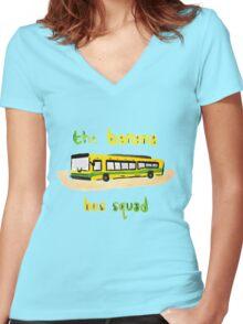 Banana Bus Squad Women's Fitted V-Neck T-Shirt