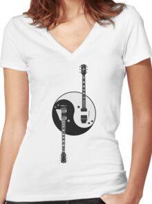 Guitar Yin Yang Women's Fitted V-Neck T-Shirt
