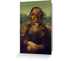 Steampunk Mona Lisa Diver's Helmet - Leonardo da Vinci Greeting Card