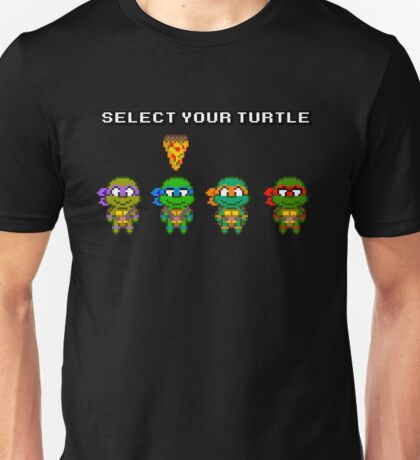 Select Your Turtle (Leonardo) - TMNT Pixel Art Unisex T-Shirt