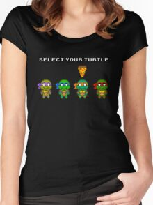 Select Your Turtle (Michelangelo) - TMNT Pixel Art Women's Fitted Scoop T-Shirt