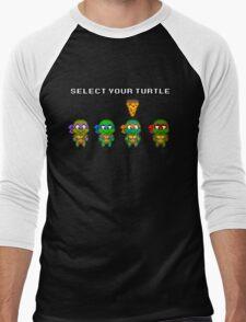 Select Your Turtle (Michelangelo) - TMNT Pixel Art Men's Baseball ¾ T-Shirt