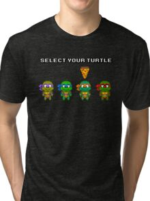 Select Your Turtle (Michelangelo) - TMNT Pixel Art Tri-blend T-Shirt