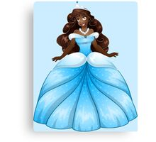 African Princess In Blue Dress Canvas Print