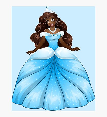 African Princess In Blue Dress Photographic Print