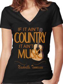 Nashville Country Music  Women's Fitted V-Neck T-Shirt