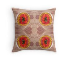 Poppy globes on wood texture. Throw Pillow