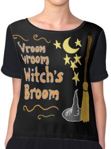 Vroom, Vroom, Witch's Broom Chiffon Top