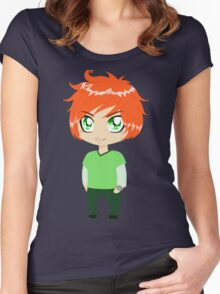 Red Headed Guy In Green Clothes Women's Fitted Scoop T-Shirt