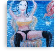 Woman and Bird 2  Canvas Print