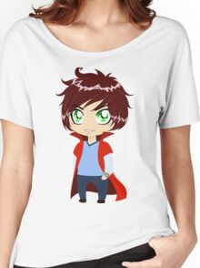 Guy In Blue Clothes Wearing Red Cape Women's Relaxed Fit T-Shirt