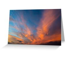 Sky with orange clouds. Greeting Card