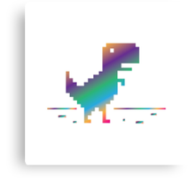My Offline rainbow Dinosaur Canvas Print