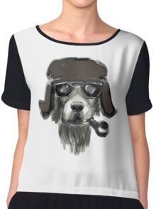 Dog with glasses Chiffon Top