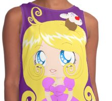 Blond Cupcake Princess In Pink Dress Contrast Tank