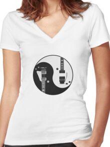 Yin Yang - Guitars Women's Fitted V-Neck T-Shirt