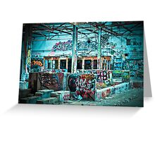 Abandoned Old Factory Covered in Colorful Graffiti Greeting Card