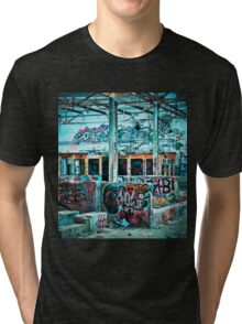 Abandoned Old Factory Covered in Colorful Graffiti Tri-blend T-Shirt