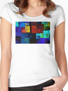 Sea Rainbow Grid Women's Fitted Scoop T-Shirt