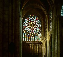 Rose Window from nave Cathedral Sens France 198405050096 by Fred Mitchell