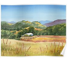 Country Scene White Barn At The Farm Poster
