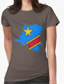 Democratic Republic of the Congo Zaire Map With Flag Womens Fitted T-Shirt