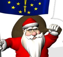 Santa Claus With Flag Of Indiana Sticker
