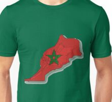 Morocco Map With Moroccan Flag Unisex T-Shirt