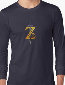 Breath Of The Wild Logo - Half Bright Gold Long Sleeve T-Shirt