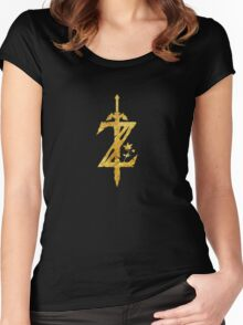 Breath Of The Wild Logo - Full Leaf Gold Women's Fitted Scoop T-Shirt
