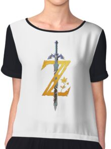 Breath Of The Wild Logo - Half Bright Gold Chiffon Top