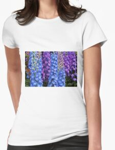 Blue and Purple Delphinium Border Womens Fitted T-Shirt