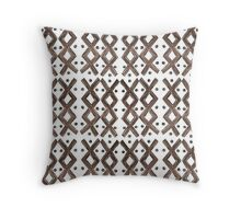 Kapa Tapa Cloth Barkcloth Geometric Tribal Crosses in Cocoa Brown and White Throw Pillow