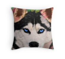 Siberian Husky Dog Colorful Art Water Color Paint Throw Pillow