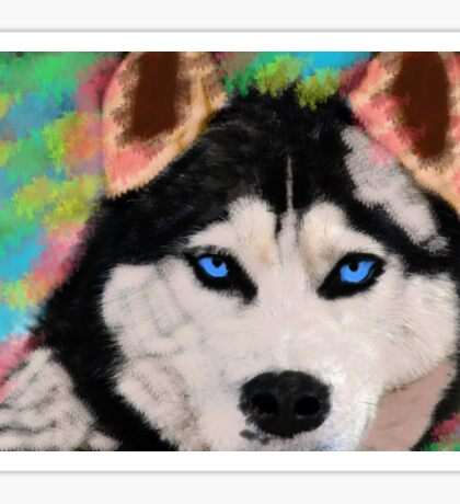Siberian Husky Dog Colorful Art Water Color Paint Sticker