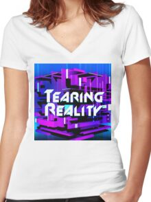 Tearing Reality Women's Fitted V-Neck T-Shirt