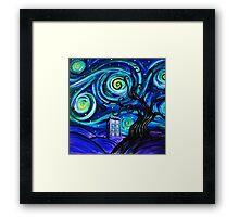 tardis starry night Framed Print