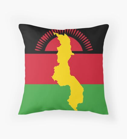 Malawi Flag Sticker With Map of Malawi Throw Pillow
