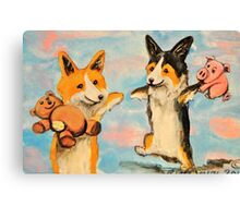 Welsh Pembroke Corgi~Dog~Cardigan~Happy~Win~LOVE Canvas Print