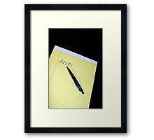 Notepad Pen Help Framed Print