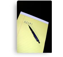 Notepad Pen Help Canvas Print